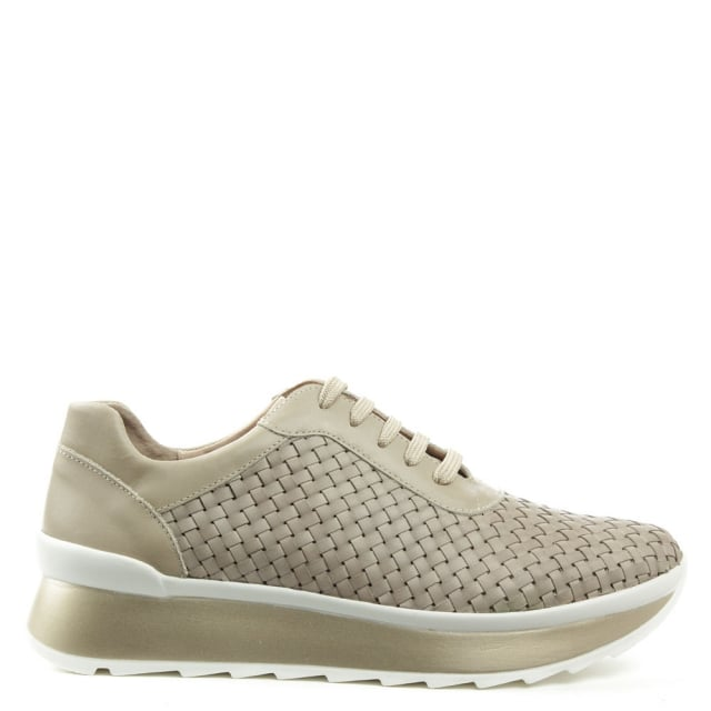 Alluvia Taupe Leather Woven Platform Trainer