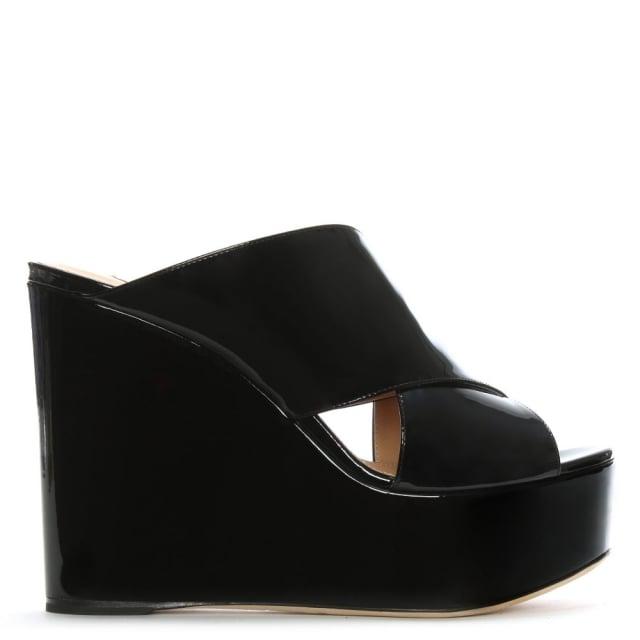 Sergio Rossi Alma 75 Black Leather Patent Cross Over Wedge Sandals