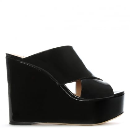 Alma 75 Black Leather Patent Cross Over Wedge Sandals