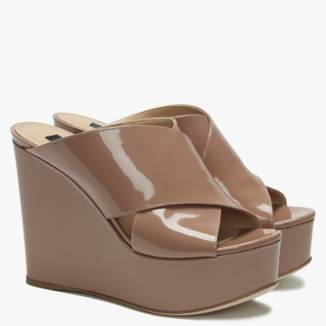 7e72f8f2cf5 Alma 75 Nude Patent Leather Cross Over Wedge Sandals