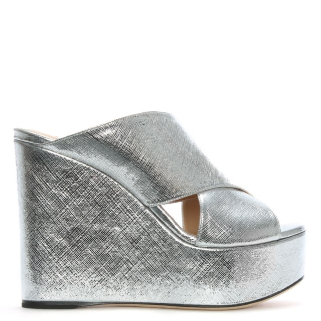 Sergio Rossi Alma 75 Silver Leather Cross Over Wedge Sandals