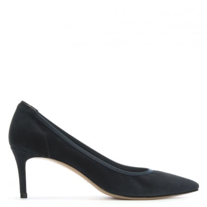Aloise Navy Suede Court Shoes