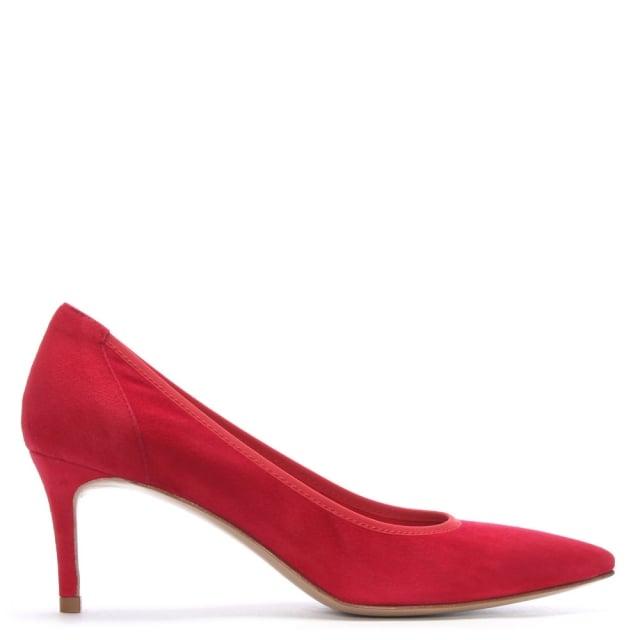 Daniel Aloise Red Suede Court Shoes