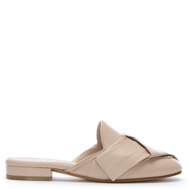 Aloup Beige Leather Woven Slip On Mules