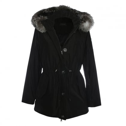 Alpine Black Fur Trim Hooded Parka