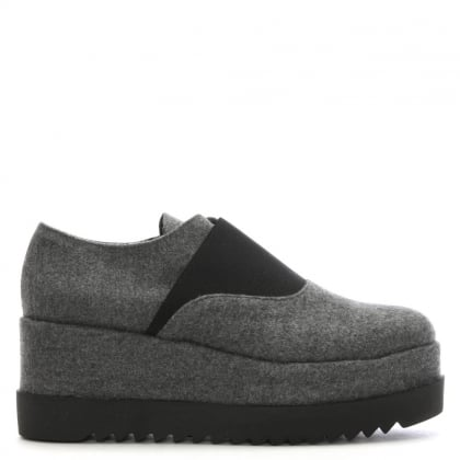 Amalo Grey Felt Flatform Loafers