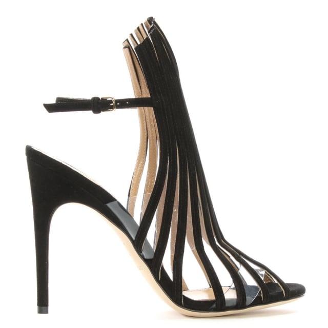 Sergio Rossi Amber 105 Black Suede Lattice Sandals