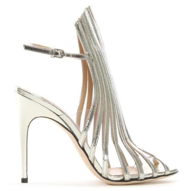 Sergio Rossi Amber 105 Silver Metallic Leather Lattice Sandals