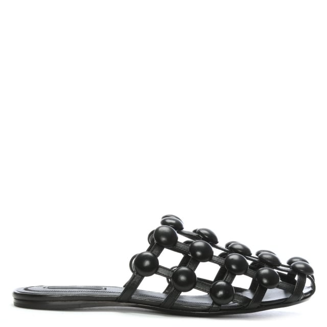 Alexander Wang Amelia Black Leather Caged Sliders