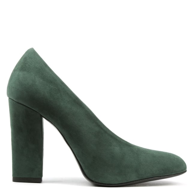 Amelie Green Suede V Front High Block Court Shoe