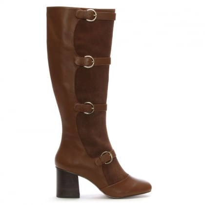 Amersham Tan Suede & Leather Buckle Knee Boots