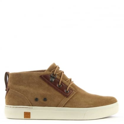 Amherst Khaki Suede Lace Up High Top Trainer