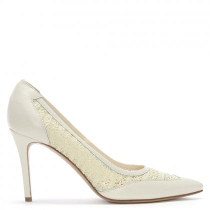 Amilla Beige Leather Woven Court Shoes