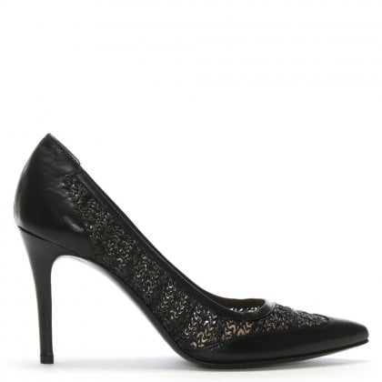 Amilla Black Leather Woven Court Shoes