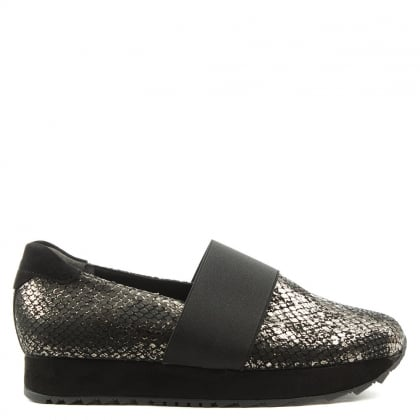 Amis Black Metallic Reptile Loafer