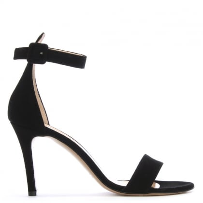 Ammie Black Suede Ankle Strap Sandals