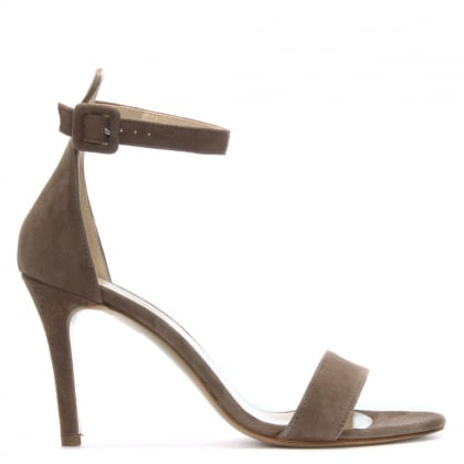 Ammie Taupe Suede Ankle Strap Sandals