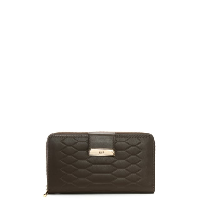 Cavalli Class Anaconda Taupe Leather Zip Around Wallet