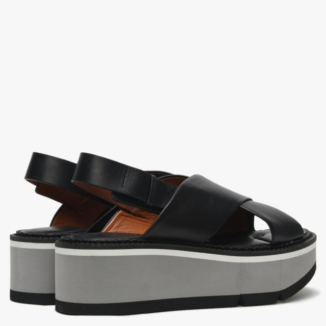 0597ce1ab03c Clergerie Anae Black Leather Cross Strap Flatform Sandals