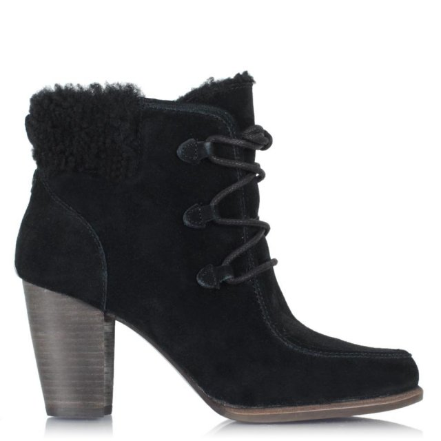Analise Black Leather Lace Up Hiker Ankle Boot