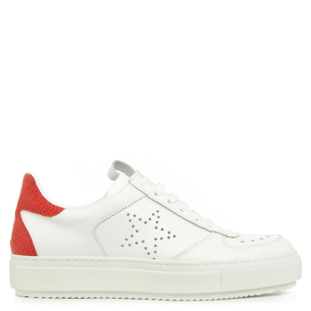 Anchorage Red Leather Contrast Heel Flatform Trainer