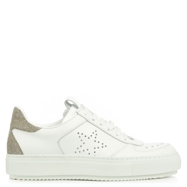Anchorage White Leather Contrast Heel Flatform Trainer