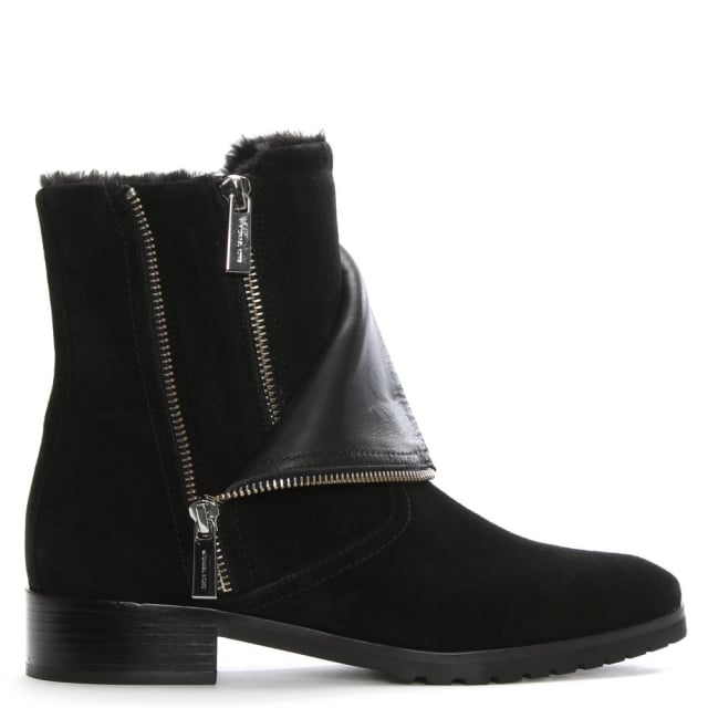 Andi Black Suede Ankle Boots