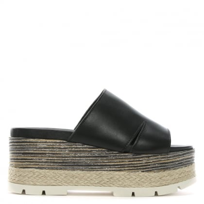 Andros Black Leather Flatform Espadrille Mules