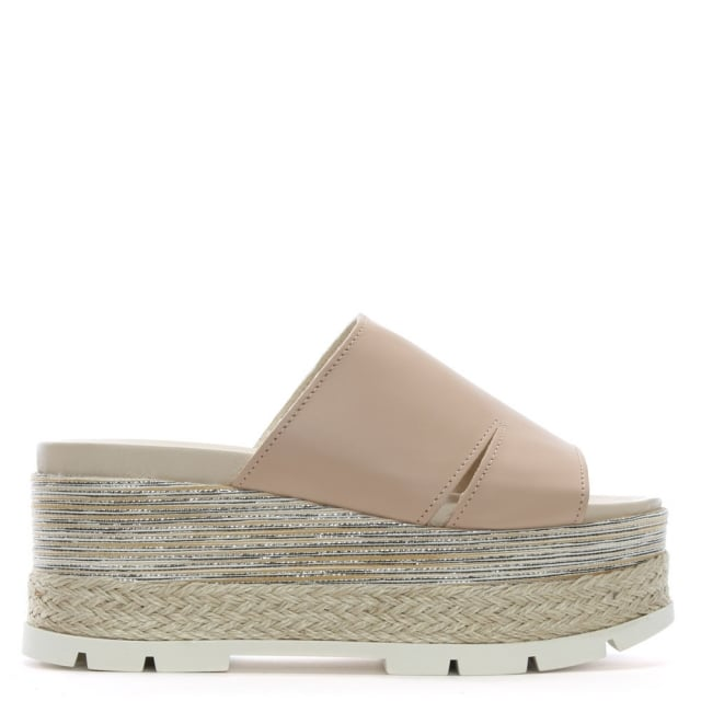 Andros Nude Leather Flatform Espadrille Mules