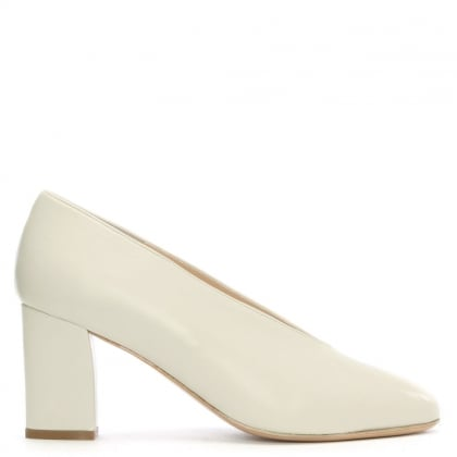Aneso White Leather V Front Court Shoes