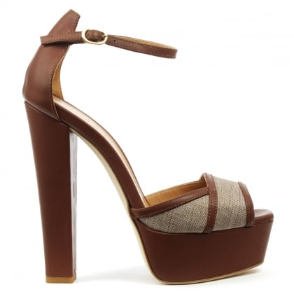 Angalondra Tan Leather Platform Sandal