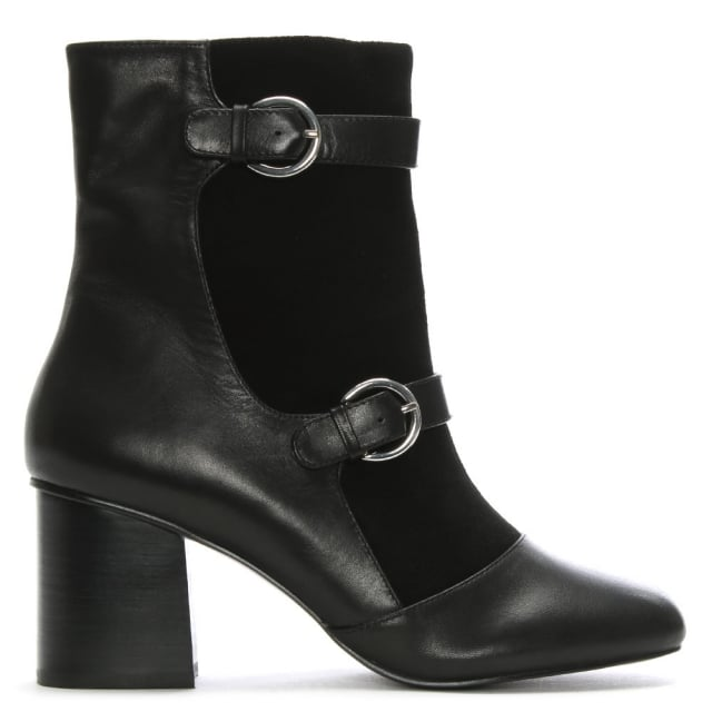 Shellys London Angel Black Suede & Leather Buckle Ankle Boots