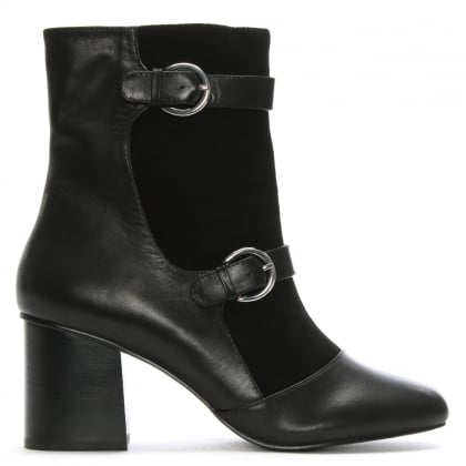 Angel Black Suede & Leather Buckle Ankle Boots