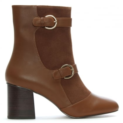 Angel Tan Suede & Leather Buckle Ankle Boots