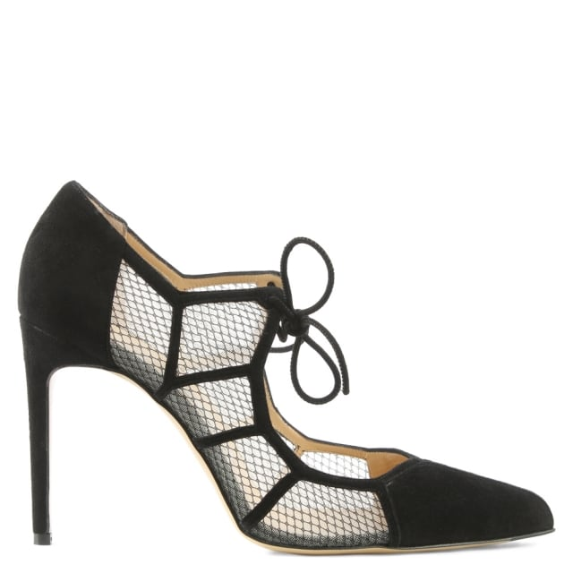 Angelique Black Suede Mesh Heeled Shoe