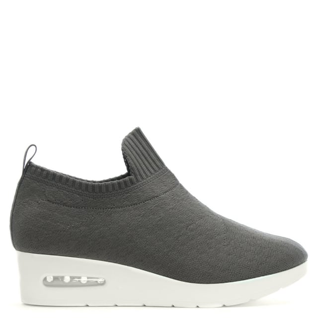 DKNY Angie Grey Knitted Low Wedge Trainers