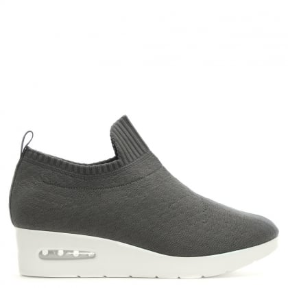 Angie Grey Knitted Low Wedge Trainers