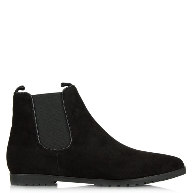 Anglier Black Suede Pointed Toe Chelsea Boot