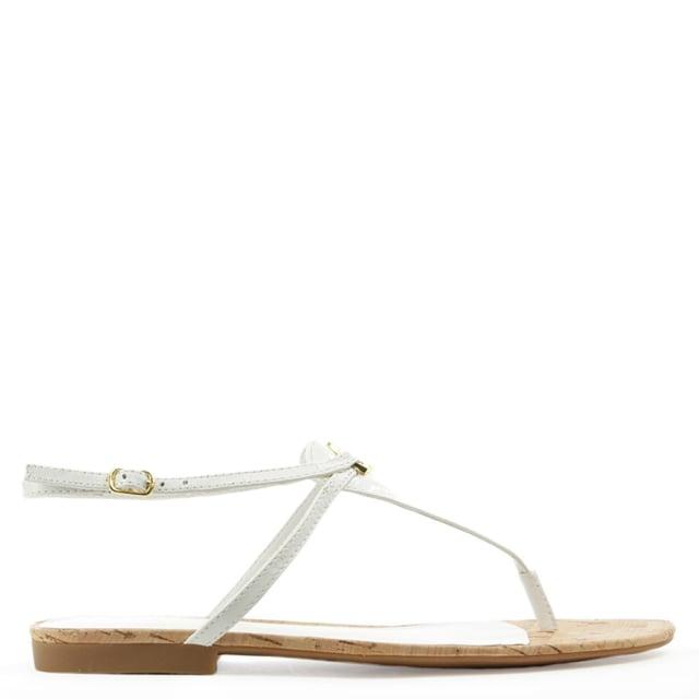 white ladies toe post leather sandals