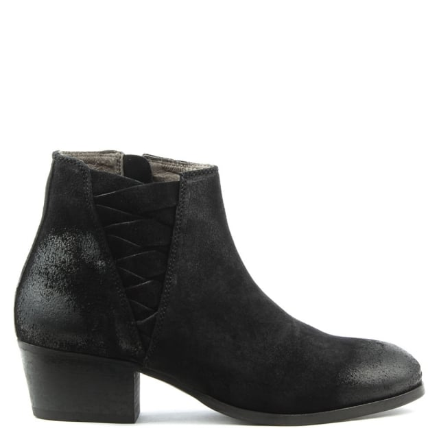 Ankti Black Suede Woven V Block Heel Ankle Boot