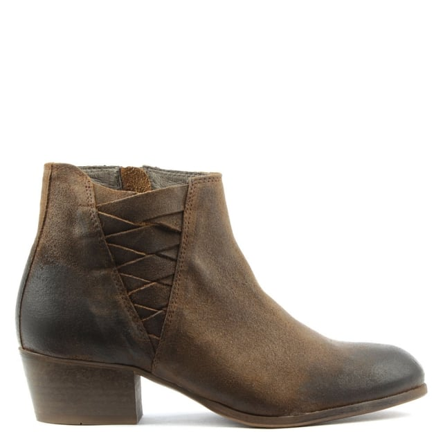 Ankti Brown Suede Woven V Block Heel Ankle Boot