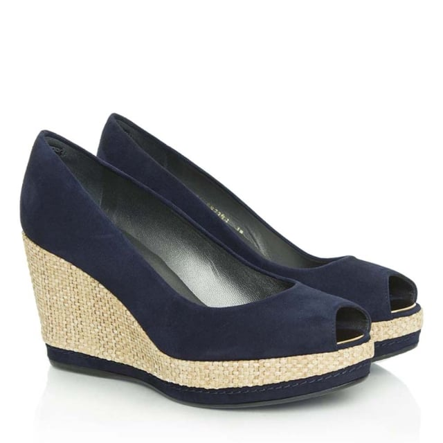 1baf9cbb384 Anna Navy Suede Peep Toe Wedge