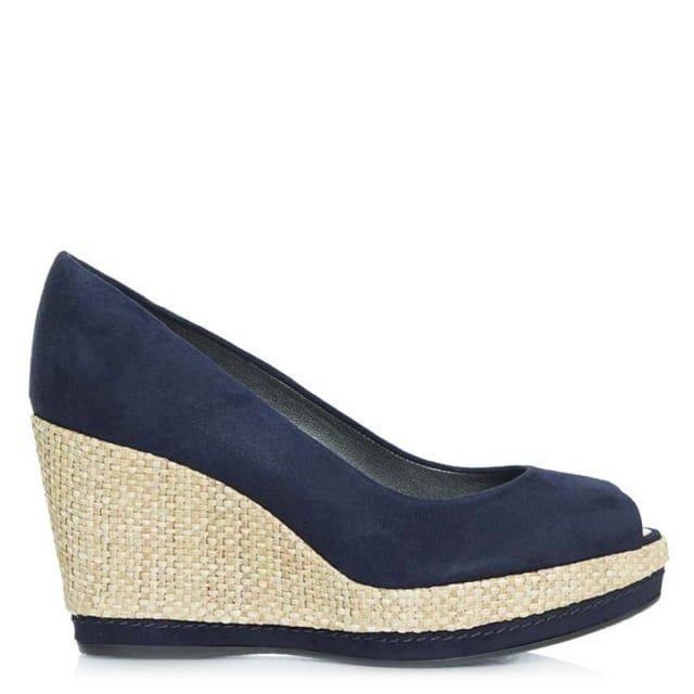 Anna Navy Suede Peep Toe Wedge