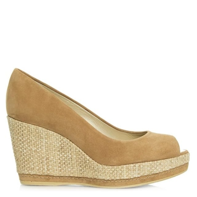 Anna Tan Suede Peep Toe Wedge