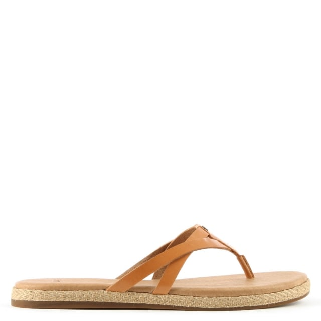 Annice Tan Leather Toe Post Flip Flop
