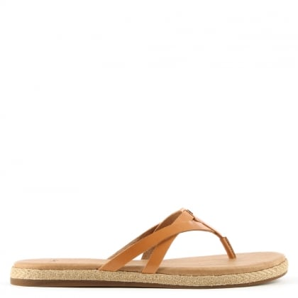 UGG Annice Tan Leather Toe Post Flip Flop