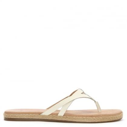 Annice White Leather Toe Post Flip Flop