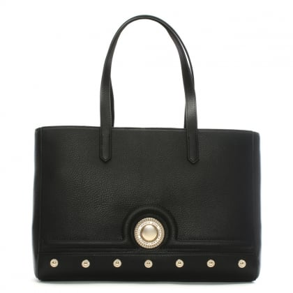 Annie Black Studded Tote Bag
