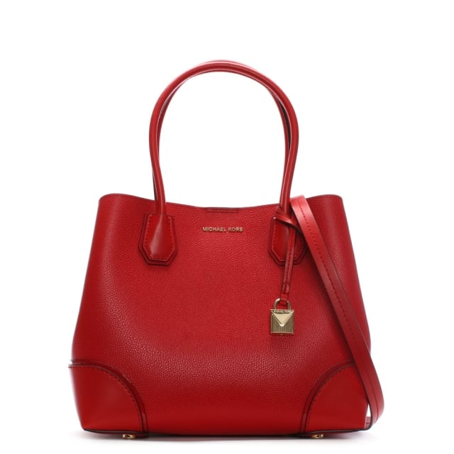 Annie Medium Bright Red Pebble Leather Tote Bag