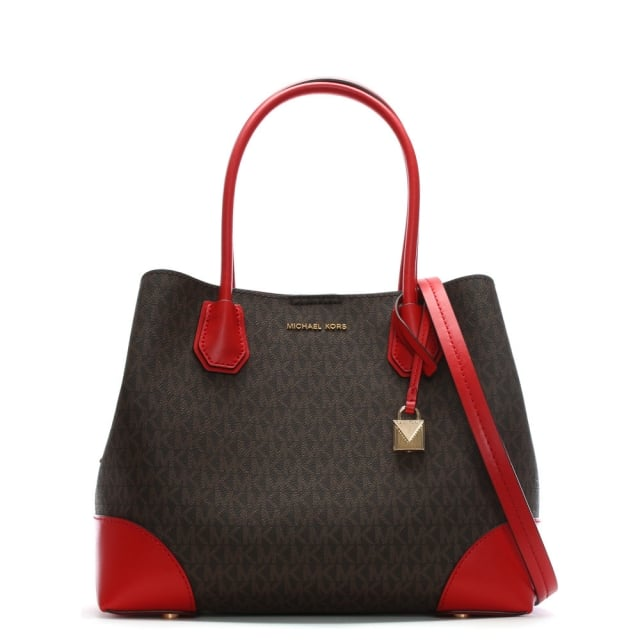 Michael Kors Annie Medium Brown   Bright Red Coated Canvas Logo Tote Bag 078c6adc6